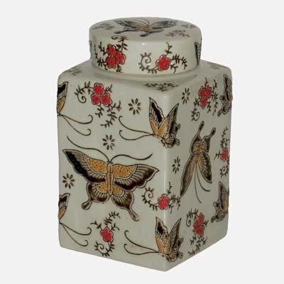 17,8 cm Bocal de conservation en porcelaine avec motif papillon