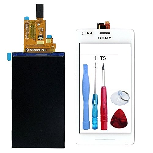 Display LCD Anzeige + Touchscreen weiß Sony Xperia M (C1904/C1905) + Doppelseitiges Klebeband + Werkzeug-Fassade Farbe Weiß