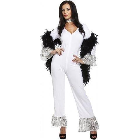 Para mayores de traje de neopreno para mujer 1970s 70s saluda con la mano de color blanco incluye el mono Fancy disfraz de Abba e instrucciones para hacer vestidos disfraz infantil