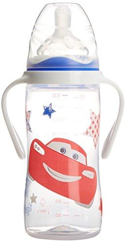 Disney Baby 80601909 - Biberón 300 ml con asas, diseño Cars, para 6-12 meses, color rojo/blanco