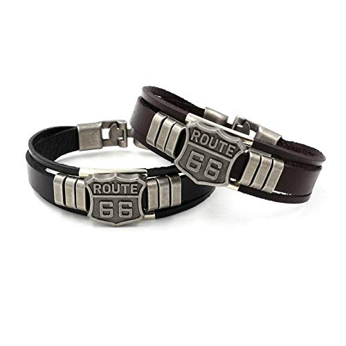 Leder Armband Route 66   Echtleder   breites Lederarmband für Herren   Männer Armreif in schwarz oder braun (braun)