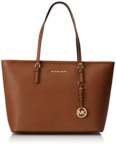 Michael Kors Jet Set Travel Large Saffiano Leather Top-Zip Tote, Bolso Totes para Mujer, Beige (Luggage), 14x25x41 cm (W x H x L)