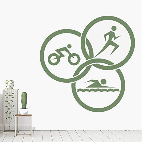Pre-spiel Leichtathletik (Wandaufkleber Schlafzimmer Triathlon unter dem Motto Laufen Schwimmen Radfahren Kreise Leichtathletik Spiel GYM Sport Aufkleber)