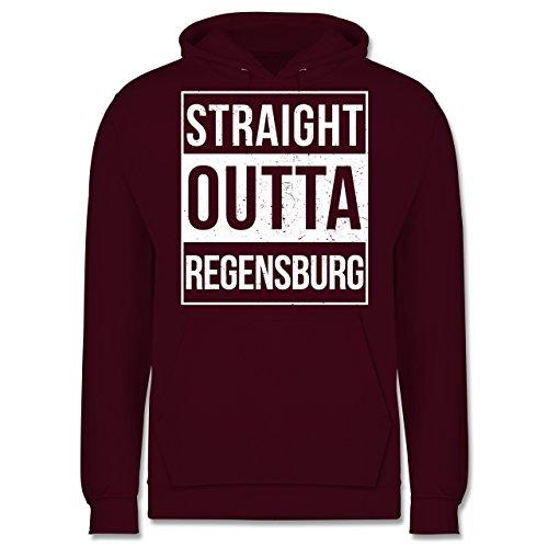 Oberpfalz Männer - Straight Outta Regensburg weiss - JH001 Herren Kapuzen Pullover Burgundrot