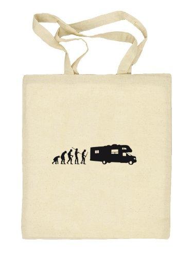 Shirtstreet24, EVOLUTION CAMPER, Camping Stoffbeutel Jute Tasche (ONE SIZE) Natur
