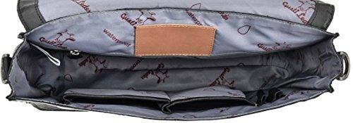 Gusti Leder studio ''Pharell'' borsa a tracolla (Portatile 13'') College Università Studente Business Vera Pelle interno impermeabile nero grigio 2B13-20-6wp