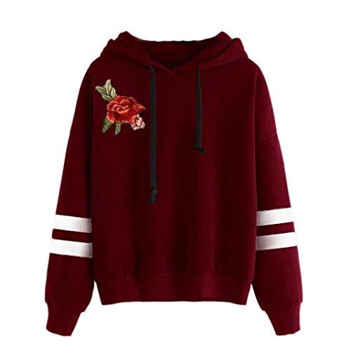 WOCACHI Damen Sommer T-Shirts Frauen Sommer Eine Rose Stickerei Bedruckte Bluse Kurzarm O-Ausschnitt Tops T-Shirt (L/36, A-Red)