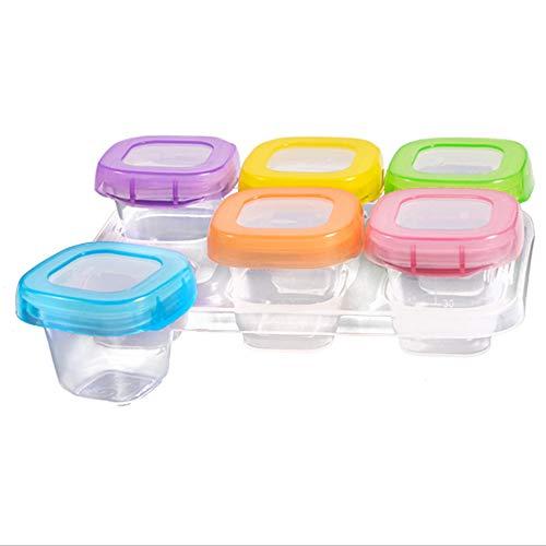 Yanchad cucina contenitore per alimenti in vetro, privo di bpa,contenitore di conservazione per alimenti per bambini, adatto a congelatore e microonde set di 6 (60ml)