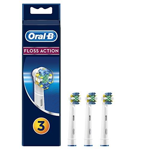 Oral-B FlossAction - Cabezal de recambio set de 3 recambios para cepillo de dientes recargable, limpieza diente por diente