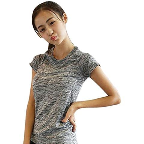Operando la ropa del entrenamiento de fitness de yoga, el deporte de la manga corta ropa de secado rápido (Gris, Tamaño: L)