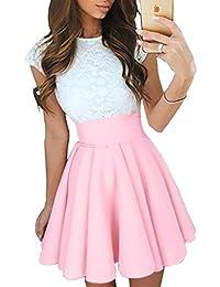 Ninimour Women's Trendy Splicing High Waist Pleated Lace Mini A-line Dress
