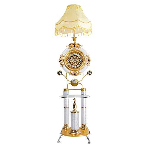 Glas 3-licht-arc (FENG LIAN Eisen Stehlampe | Moderne minimalistische Stil Stehlampe mit Tisch und Uhr | für Wohnzimmer Schlafzimmer Arbeitszimmer Stehendes Licht)