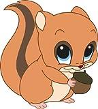 Bambinella® Bügelbild Aufbügler - gedruckte Velour/Flock Applikation zum selbst Aufbügeln - Motiv: Eichhörnchen - Hergestellt in Deutschland