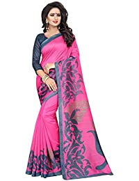 Aarvicouture Women's Bhagalpuri Art Silk Saree With Blouse Piece (Aarviart05_Pink And Grey)