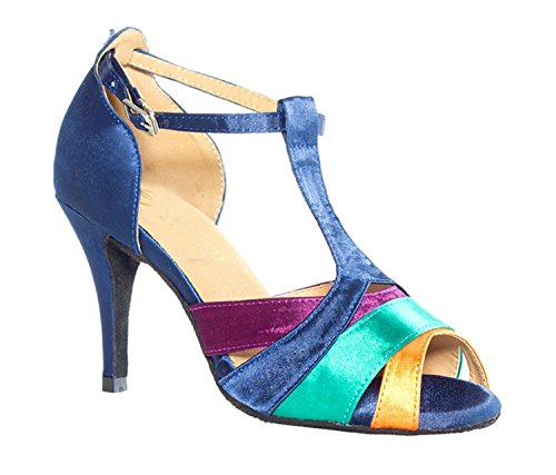 Minitoo T-Strap femme en Satin pour mariage Motif danse-Chaussures Sandales-Latine multicouleur - Multicolore