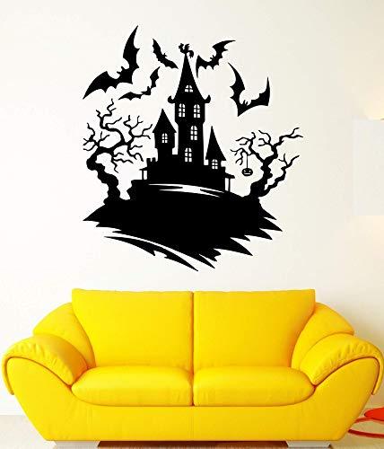 yiyiyaya Wandtattoo Dunkelheit Nacht Fledermäuse Burg Halloween Baum Angst Vinyl Aufkleber Halloween UrlaubWandaufkleber Wohnkultur 57 * 63 cm