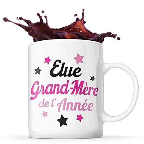 Mug Life Mug Grand-Mère Cadeau « Élue grand-mère de l'année » | Résistant au Lave-Vaisselle et Micro-Ondes | Hauteur : 9,7 cm – Diamètre : 8,2 cm | Capacité 325 ML