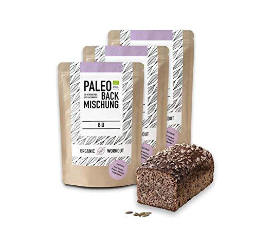 Organic Workout PALEO-BROT-BACKMISCHUNG 3er Pack | Bio | gluten-frei | lower-carb | Eiweiss-Brot | clean-eating | Fitness-Brot | hefefrei | ohne Getreide | hergestellt in Deutschland