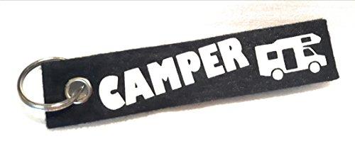 """Schlüsselanhänger aus Filz mit der Aufschrift """"Camper"""" und einem Wohnmobil, Wohnwagen oder Zelt. Die zweite Seite kann individuell gestaltet werden. (Jugendliche Für Zelte)"""