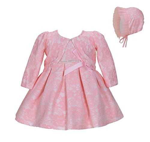 Cinda Baby-Mädchen-Spitze-Tauf-Party-Kleid mit Mütze Rosa 56-62(Mit bolero)