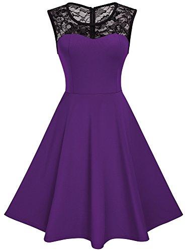 HOMEYEE Damen Elegant Spitze Rundhalsausschnitt Ärmel Mesh-A-Linie Kleid UKA008 (EU 38 (Herstellergroesse: M), Violett) (Amazon Prom Kleider)