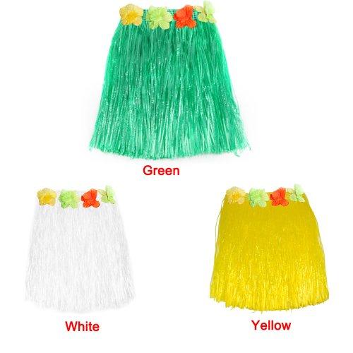 Imagen de gleader falda corta hawaiana de hierba con flores para fiesta de disfraces amarillo  alternativa