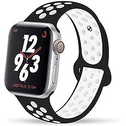 VIKATECH pour Bracelet Apple Watch 42mm, Engrener Bracelet Sport Doux in Silicone Remplacement pour Apple Watch Serie 1, Serie 2, Serie 3, Sport, Edition, Taille M/L, Noir/Blanc
