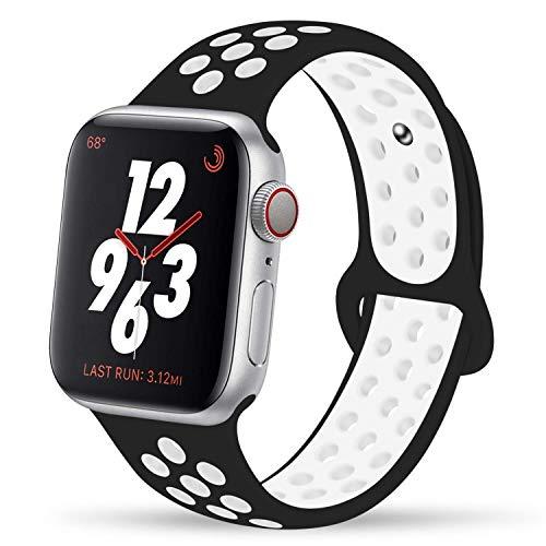 VIKATech Für Apple Watch Armband 44mm 42mm, Weiche Silikon Ersatz Armbänder für Apple Watch Armband Series 5/4/3/2/1, Sport, Edition, M/L, Schwarz/Weiß