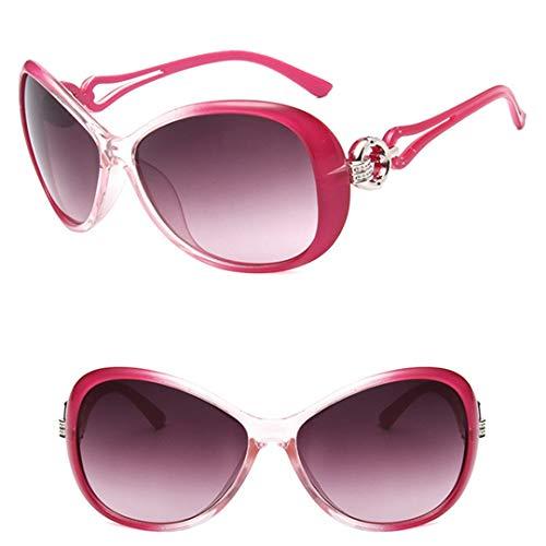 DAIYSNAFDN Klassische Gradient Sonnenbrille Damen Designer Vintage Übergroße Sonnenbrille Uv400 Rose Red