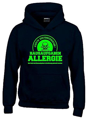 HAUSAUFGABEN ALLERGIE - Vorsicht Gesundheitsgefahr ! Nicht mit Hausaufgaben in Verbindung bringen ! Kinder Sweatshirt mit Kapuze HOODIE schwarz-green, Gr.140cm (Hausaufgaben-kinder-t-shirt)