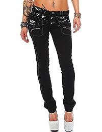 Cipo & Baxx Sexy Damen Jeans Hose Hüftjeans Skinny Regular Fit Stretch Röhre Design Schwarze