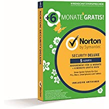 Norton Security Deluxe (1 User, 5 Device, 18 Monate)|Version 3.0|5|18 Monate|für PC, Handy, Tablet, Mac|Download