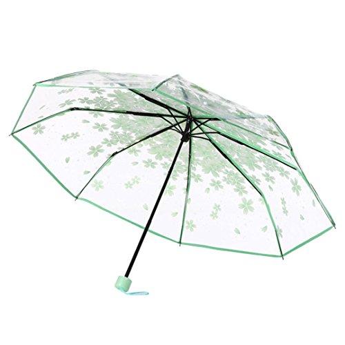 Ombrello pieghevole, Yuyoug portabilità trasparente ombrello Cherry Blossom fungo Apollo Sakura 3volte ombrello anti-UV Sun/pioggia ombrello per donna/ragazza, PU, Green, taglia unica