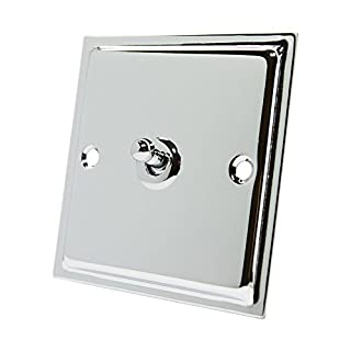Slimline Polished Chrome 1 Gang Toggle Switch - 10 Amp Single 1-Gang 2 Way Dolly Light Switch
