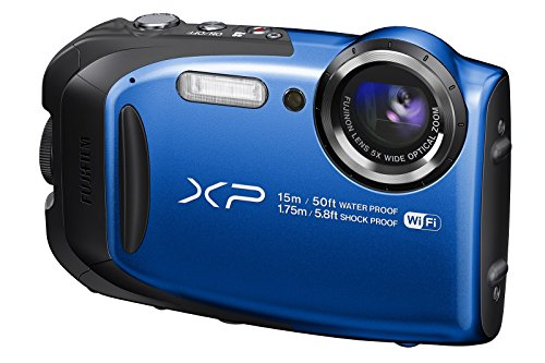"Fujifilm FinePix XP80 - Cámara digital compacta de 16.4 MP (sensor CMOS, pantalla de 2.7"", zoom óptico 5x, gran angular 28 mm, ISO 6400, estabilizador de imagen), color azul"