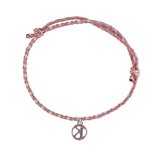 KELITCH Baumwolle Faden Freundschaft Armbänder Hand Gewebt Geflochten String Seil Armbänder Paare Liebhaber (Grau Rosa)