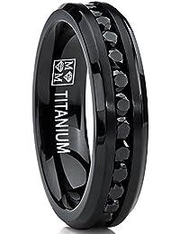 6MM Bague de mariage en titane noire avec zircone cubique noire. Pour Femme Intérieur Confort