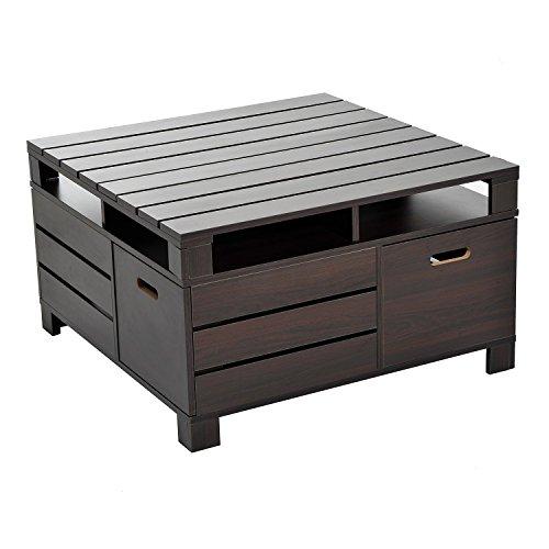 Tavolino Da Salotto Design.Homcom Tavolino Da Salotto Design Moderno Con Vani Portaoggetti In