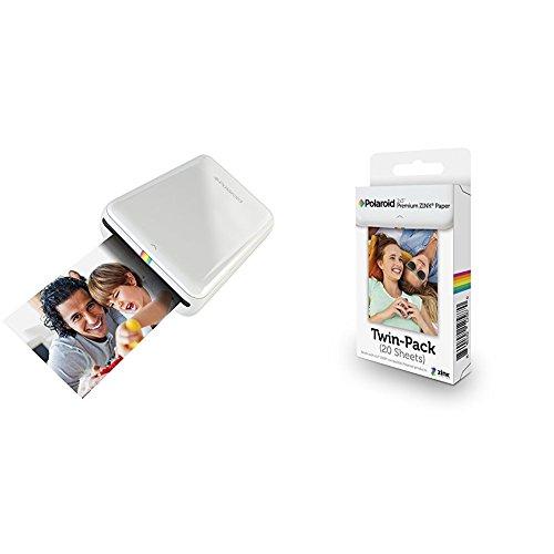 Polaroid ZIP + Pack de 20 Zink Paper - Impresora móvil (Bluetooth, NFC, micro USB, tecnología ZINK Zero Ink, 5 x 7.6 cm, compatible con iOS y Android), color blanco