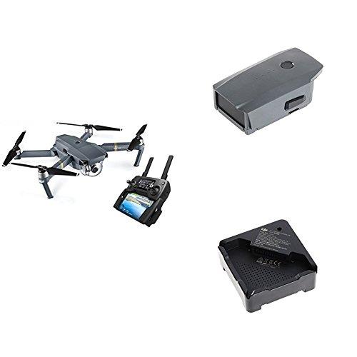 Kit DJI Mavic Pro - Dron cuadricóptero con control remoto y cámara 12MP 4K Walio, gris + batería recargable 3850 mAh + cargador de batería