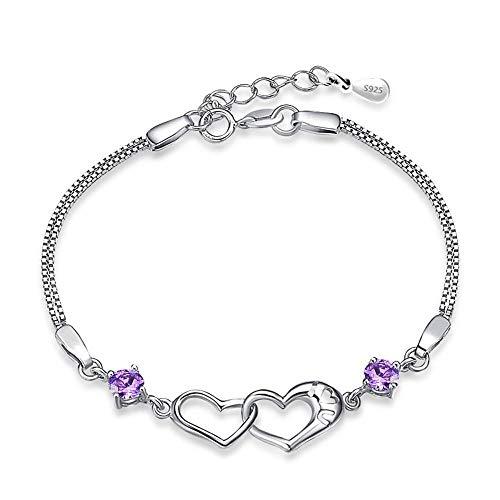 JunBo Sterling Silber Doppel Herz Amethyst Armband Herz und Herz gedruckt Armband Silber