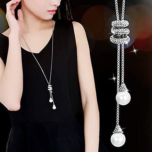 Gemini_mall Femmes Charm Perles de Cristal Pendentif Collier de Luxe Collier Long Pull Chaîne Cadeau de Noël, Silver, Taille Uniqu