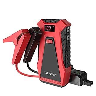 VETOMILE Arrancador de coche portable 12V auto batería de refuerzo dual 5V USB con cargador de coche y adaptador para motores de gasolina y diesel Rojo