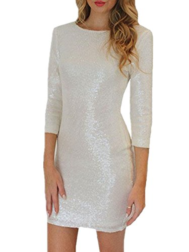 Ecollection®Women Sexy Kleider Bodycon-Cocktail-Abend-Partei Bleistift Pailletten-Minikleid (XXL EU 40-42, Weiß) (Kleid Con Pailletten-body)