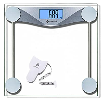 Etekcity High Precision Digital Body Weighing Bathroom Scales with Step-On Technology, 28st/180kg/400lb, Body Measuring Tape Included, Backlight Display