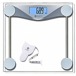 Etekcity Digitale Personenwaage Körperwaage Gewichtswaage Digitalwaage aus Sicherheitsglas, 5kg-180kg, Slim Design, mit Großem LCD-Display, Inkl. Maßband