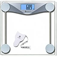 Etekcity High Precision Digital Body Weighing Bathroom Scales Weight Scale with Step-On Technology, 28st/180kg/400lb, Body Measuring Tape Included, Backlight Display