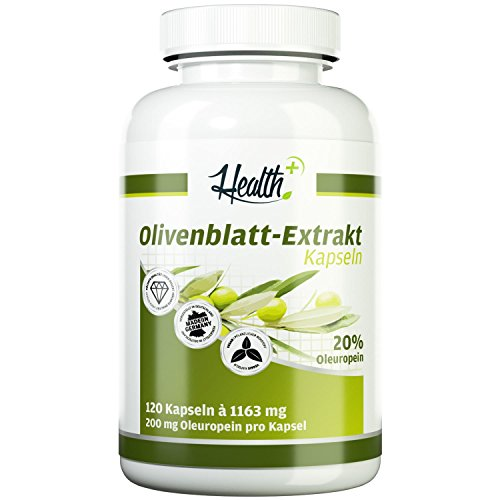 HEALTH+ Olivenblattextrakt - 120 Kapseln mit 200 mg Oleuropein, reines und natürliches, Antioxidants, vegane Olivenblatt-Extrakt Kapseln - Made in Germany