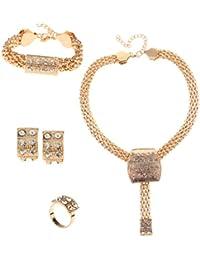 4 En 1 De Oro Perlas Africanas Collar Pulsera Conjunto De Pendientes Anillo De La Joyeria