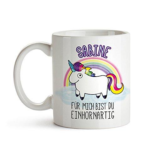 Tasse mit Einhorn - Für mich bist du einhornartig - Personalisiert mit Namen - Weiße Keramiktasse mit Aufdruck als lustige Geschenk-Idee - Romantisches Geschenk zum Valentinstag